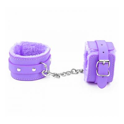 Love in Leather Berlin Baby Faux Fur Lined Wrist Cuffs Purple HAN02PUR 2811402162115 Detail