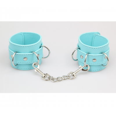 Love in Leather Berlin Baby Faux Leather Hand Cuffs Baby Blue Turquoise B HAN22 2811422202112 Detail