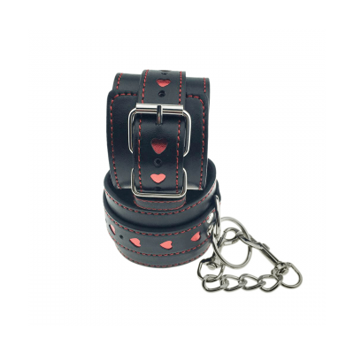 Love in Leather Berlin Baby Faux Leather Hand Cuffs with Heart Inlay Detail Black Red HAN01 2811401000005 Detail