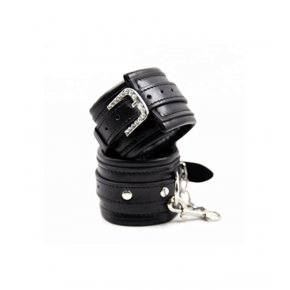 Love in Leather Berlin Baby Faux Leather Hand cuffs with Diamante Buckle Black B HAN17 2811417000006 Detail