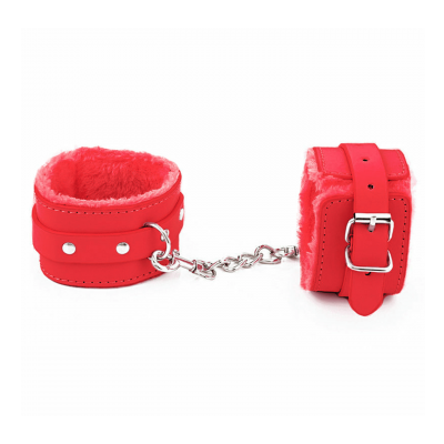 Love in Leather Berlin Baby Fur Lined Faux Leather Hand Cuffs Red HAN02RED 2811402185404 Detail