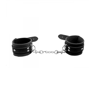 Love in Leather Berlin Baby Unlined Faux Leather Hand Cuffs Black B HAN06BLK 2811406212113 Detail