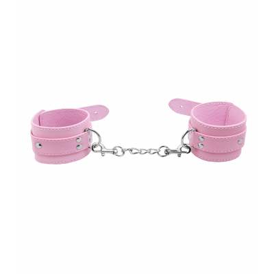 Love in Leather Berlin Baby Unlined Faux Leather Hand Cuffs Light Pink B HAN06PNK 2811406161404 Detail