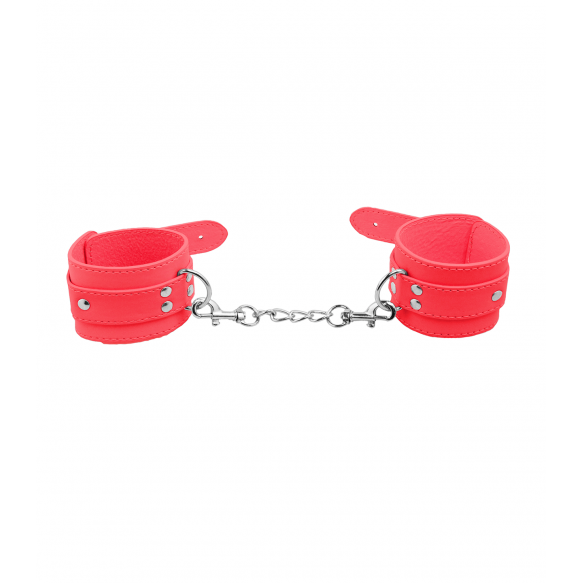 Love in Leather Berlin Baby Unlined Faux Leather Hand Cuffs Red B HAN06RED 2811406185400 Detail