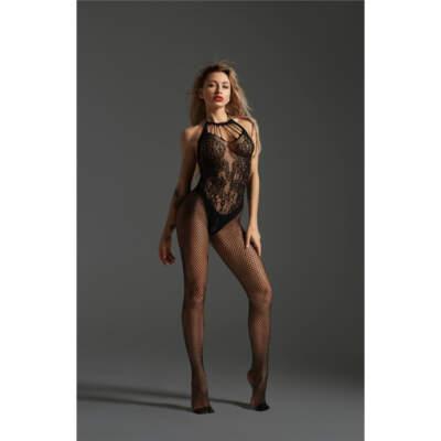 Love in Leather Cindylove Halter Lace Fishnet Bodystocking OS Black LIN70211 1291470211112 Detail