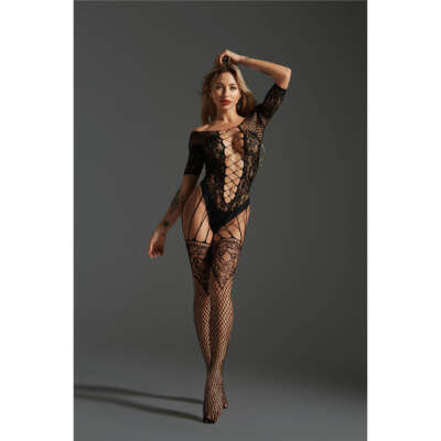 Love in Leather Cindylove Lace Fishnet Cutout Bodystocking OS Black LIN8561 1291485611112 Detail