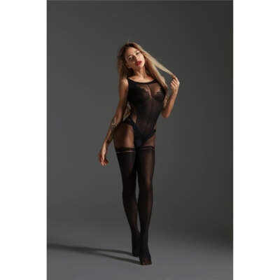 Love in Leather Cindylove Opaque Sheer Faux Thigh High Bodystocking OS Black LIN17722 1291417722220 Detail