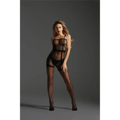 Love in Leather Cindylove Sheer Faux Suspender Bodystocking OS Black LIN17712 1291417712221 Detail