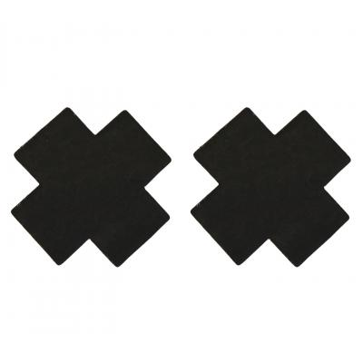 Love in Leather Fabric Cross Nipple Pasties X Pasties Black NIP022 1491602221211 Detail