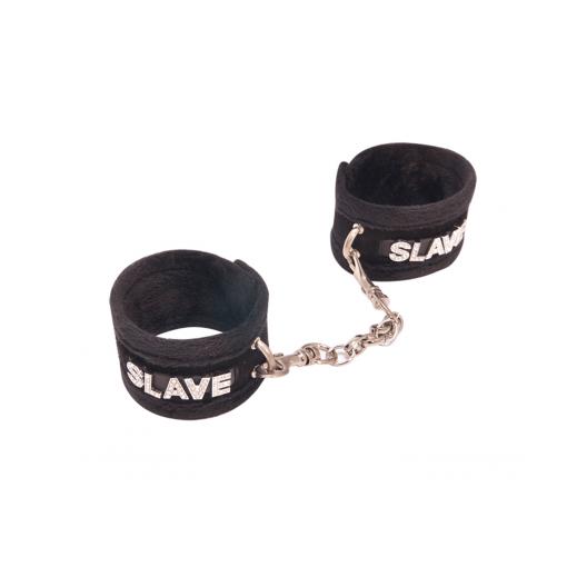 Love in Leather Furry Velcro Diamante Word Cuffs Slave Black HAN016BBLK 8114016221211 Detail