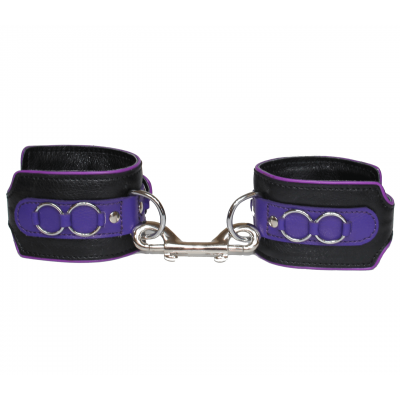 Love in Leather Heavy Duty Lockable Buckle Adjustable Leather Handcuffs Black Purple HAN031PUR 8114031212140 Detail