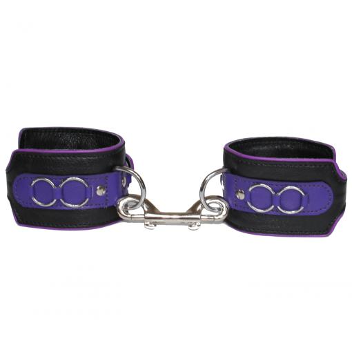 Love in Leather Heavy Duty Lockable Buckle Adjustable Leather Handcuffs Black Purple HAN031PUR 8114031212140 Detail