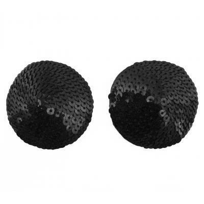 Love in Leather Round sequin nipple pastie cover burlesque Black NIP013BLK 1491601321219 Detail