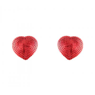 Love in Leather Sequin Heart Shaped Nipple Pasties Red NIP017A 1491601710006 Detail