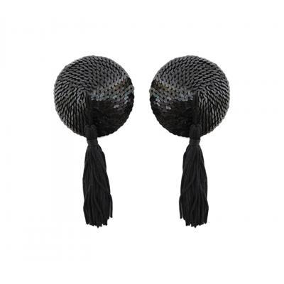 Love in Leather round sequin pasties tassels Black NIP001BLK 1491600121216 Detail