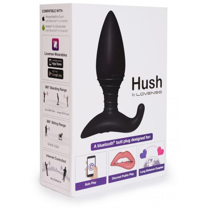Lovense Hush Smartphone App VIbrating Butt Plug Small Black 0714449810686 Boxview