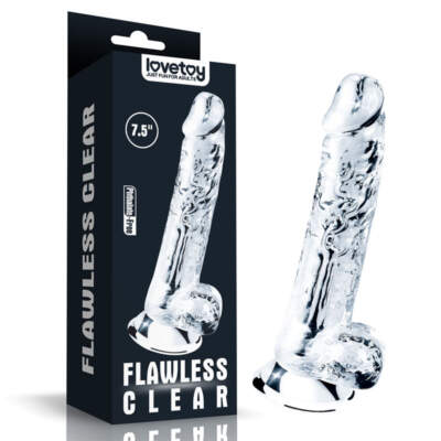 Lovetoy Flawless Clear 7 point 5 inch Dong with Balls Clear LV310016 6970260906241 Multiview