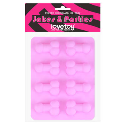 Lovetoy Pecker Shaped Ice Tray Penis Chocolates Maker Pink LV765012 6970260908757 Boxview