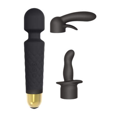 Marc Dorcel Wanderful 3pc Wand Massager Kit Black 6071885 3700436071885 Multiview