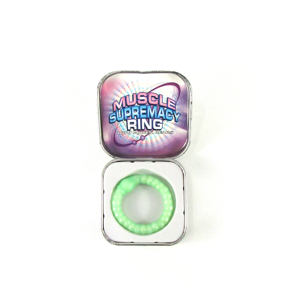 Green Beaded Cock Ring in Metal Tin