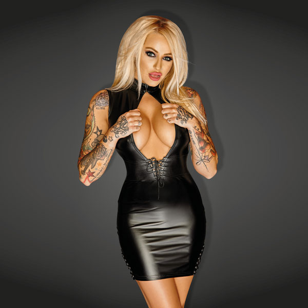 Noir Handmade Wet Look Lingerie - Powerwetlook Mini Dress with Leather and Lacing -