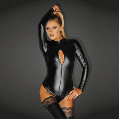Noir Handmade Wet Look Lingerie - Powerwetlook Bodysuit with 3-way Zipper - 5902175348473
