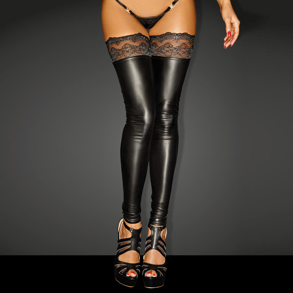 "Noir Handmade Wet Look Lingerie - Powerwetlook ""Superstar"" Stockings with Siliconed Lace Tops - 5902175348565"