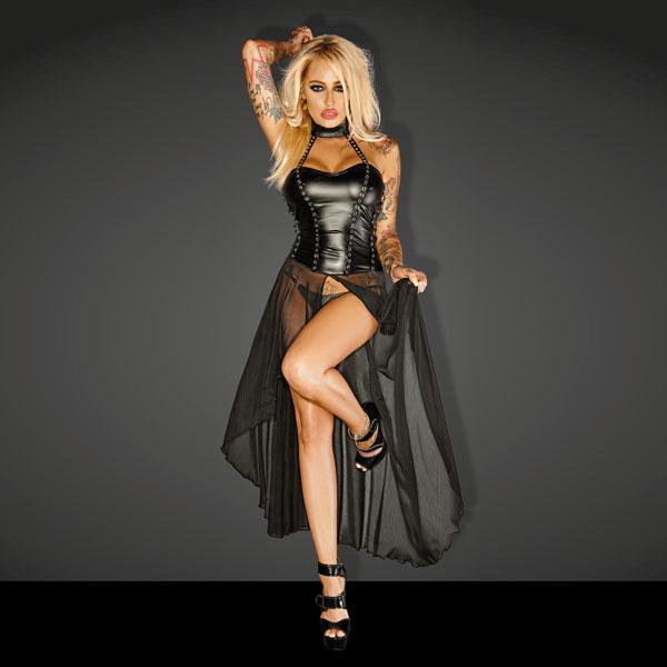 "Noir Handmade Wet Look Lingerie - Powerwetlook ""Gun"" Tulle Long Dress with Rocky Eyelets - 5902175348923"