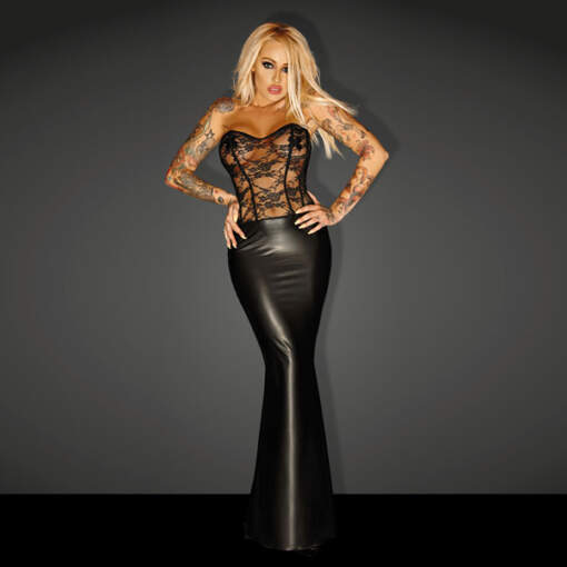 """Noir Handmade Wet Look Lingerie - Powerwetlook """"Goddess"""" Lacing Corsage Long Dress - 5902175349012"""