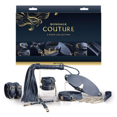 NS Novelties Bondage Couture 6 Piece Collection Navy Gold NSN 1306 07 657447103544 Multiview