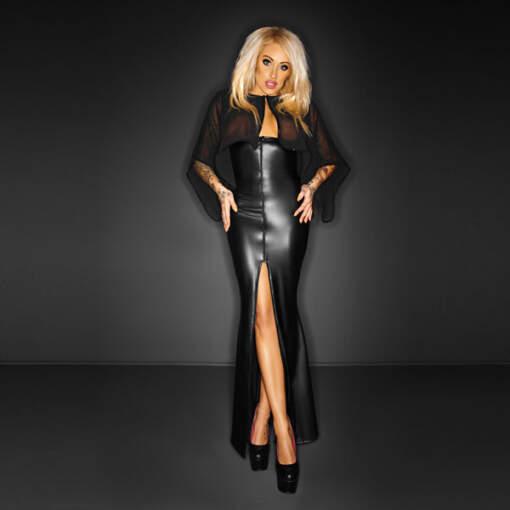 "Noir Handmade Wet Look Lingerie - ""Desire"" Long Dress with Cape -"