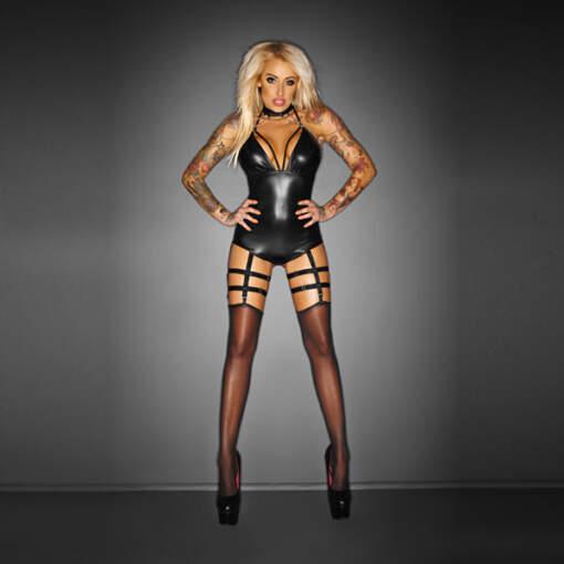 """Noir Handmade Wet Look Lingerie - """"Outrageous"""" Bodysuit with Garter Belt - 5902175345441"""