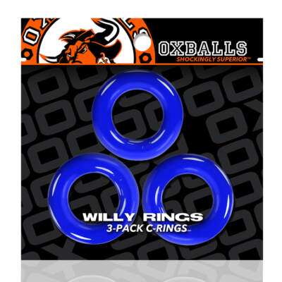 Ox Balls Willy Rings 3 Pack Cock Rings Police Blue OX 3047 PLC 840215120328 Boxview