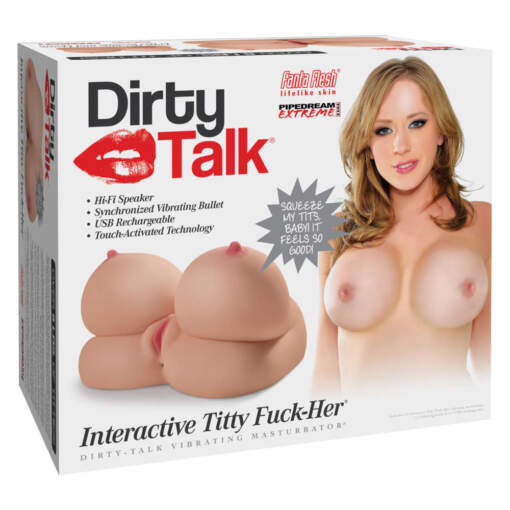 Pipedream Extreme Toyz Dirty Talk Interactive Titty Fuck Her Masturbator Light Flesh RD413 603912750645 Boxview