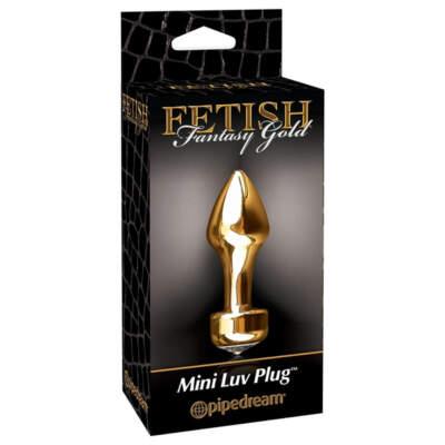 Pipedream Fetish Fantasy Gold Mini Luv Plug Gold Jewel Butt Plug Gold PD3986 27 603912340648 Boxview