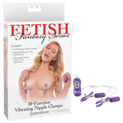 Pipedream Fetish Fantasy Series 10 Function Vibrating Nipple Clamps Purple PD3235 12 603912357806 Multiview