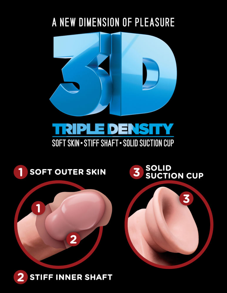 Pipedream King Cock Plus 10 inch Triple Density Cock with Balls Light Flesh PD5721 21 603912762549 3D Detail