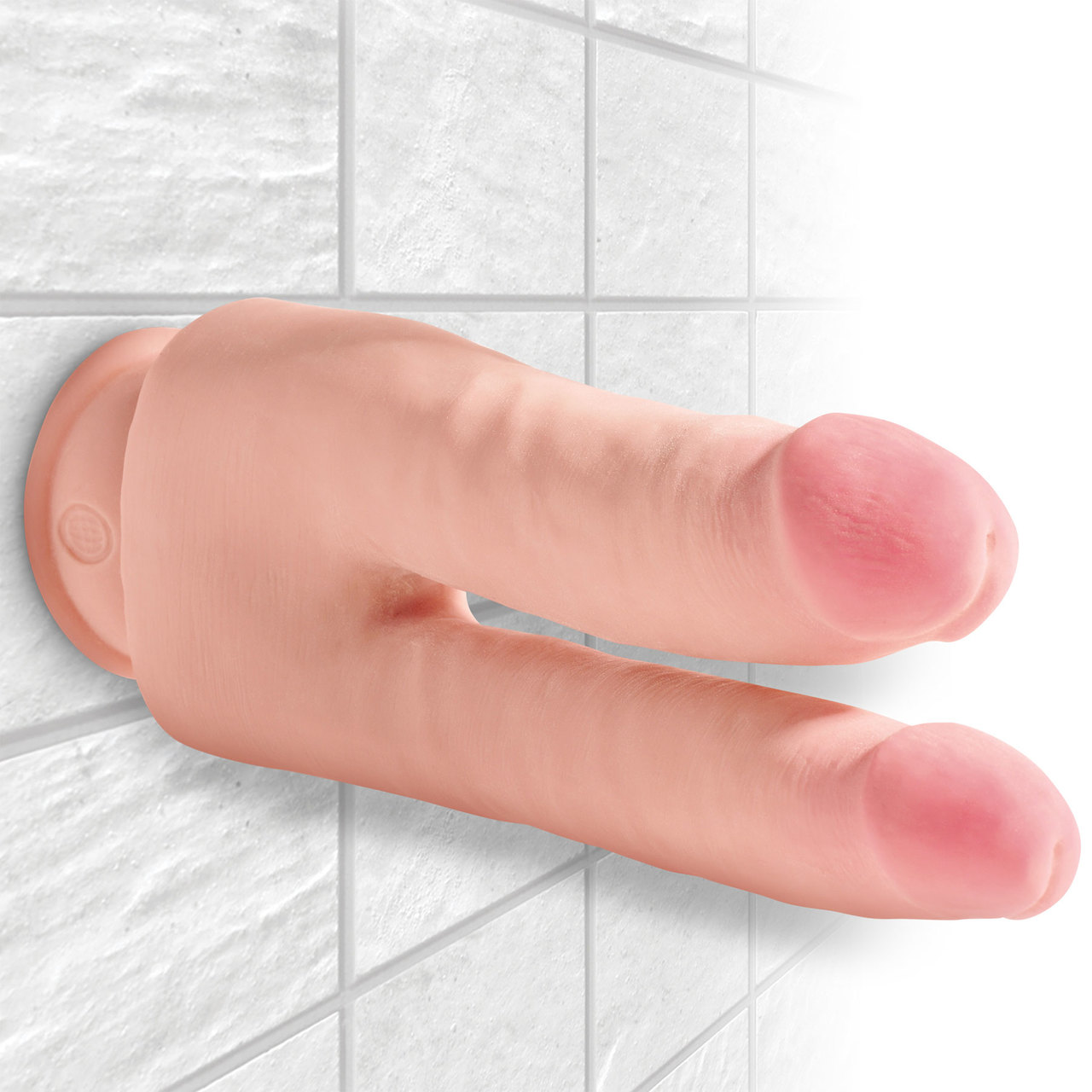 Pipedream King Cock Plus 3D 9 point 5 inch Triple Density Double Penetrator Dong Light Flesh PD5724 21 603912762570 Wall Detail