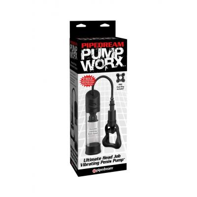 Pipedream PumpWorx Ultimate Head Job Vibrating Penis Pump Clear PD3297 23 603912356403 Boxview