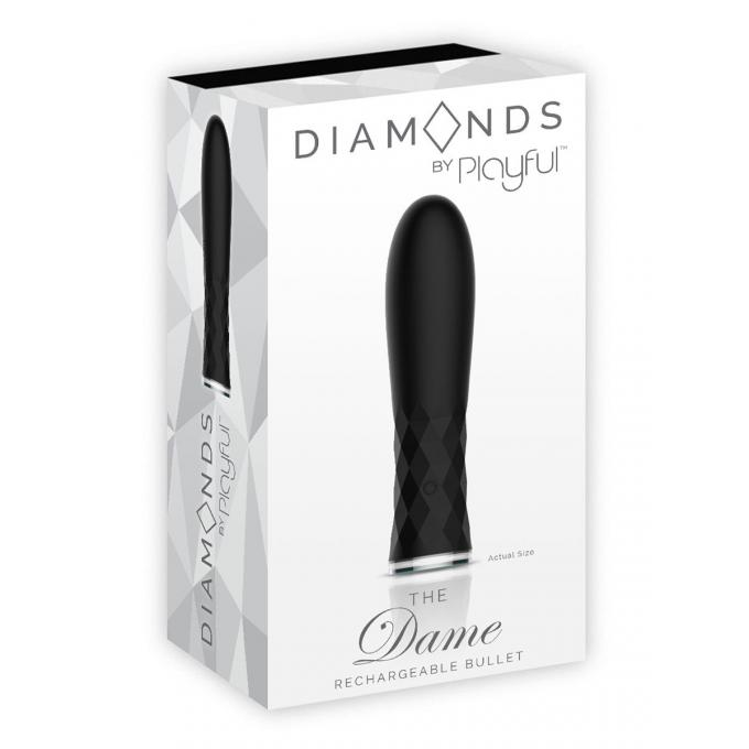 Playful Diamonds The Dame Rechargeable Silicone Vibrating Bullet Black 6517GS-BLK 6925301805540