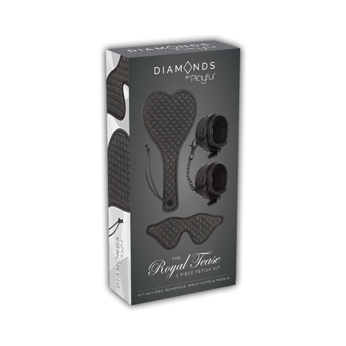 Playful Diamonds The Royal Tease 3 piece Fetish Kit Black 6001086670006