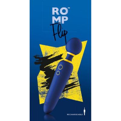 ROMP Flip Rechargeable Wand Vibrator Indigo RPWDSG5 4251460601313 Boxview
