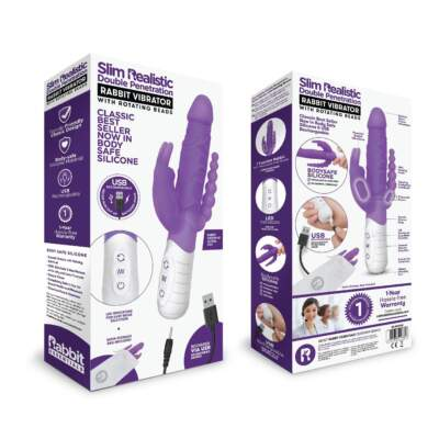 Rabbit Essentials Slim Realistic Double Penetration Rabbit Vibrator Purple RR-007PUR
