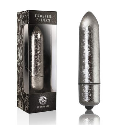 Rocks Off RO 120mm frosted fleur Snowflake Bullet Vibrator Silver 10RO120FSN 811041013962 Multiview