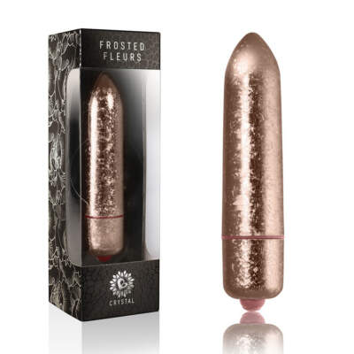 Rocks Off RO 120mm frosted fleur crystal Bullet Vibrator Rose Gold 10RO120FCR 811041013986 Multiview