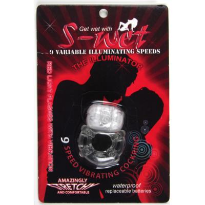S-Wet 9 Speed Vibrating Cock RIng Clear 9342851000107