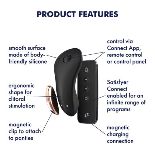 Satisfyer Little Secret Panty Vibrator Black 4061504004181 Feature Detail