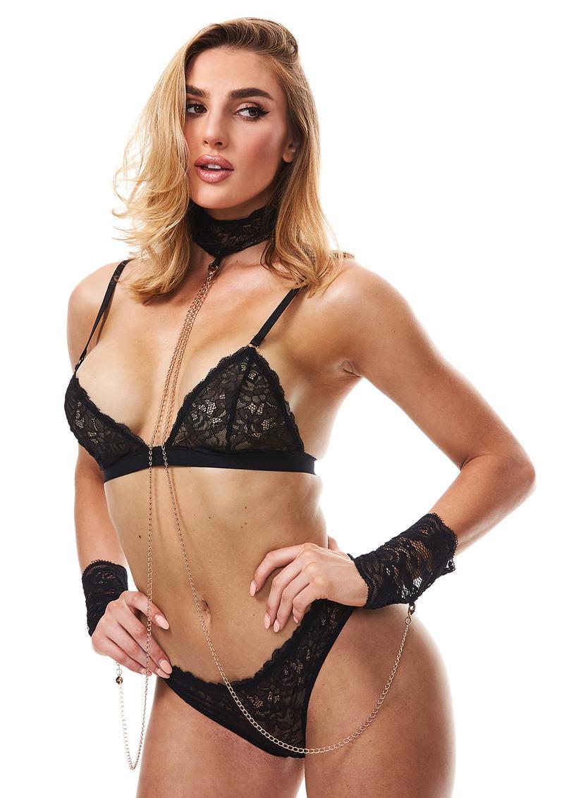 Secret Kisses Boudoir Lace Collar and Cuffs Black SK 1005 884472024807 Detail