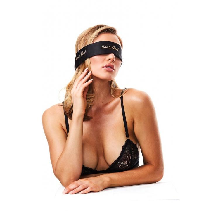 Secret Kisses Love is Blind Satin Tie Blindfold Tie Black SK 1009 884472024845 Detail