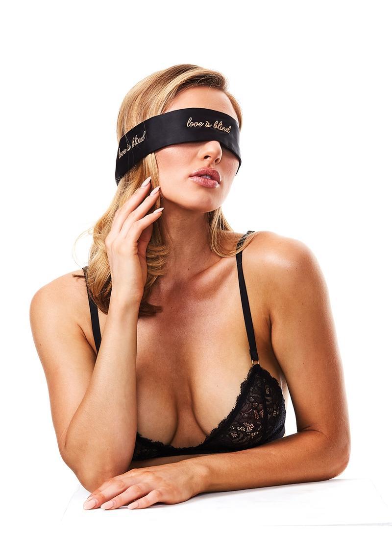 Secret Kisses Love is Blind Satin Tie Blindfold Tie Black SK 1009 884472024845 Detail
